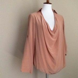 Eileen Fisher 100% Silk Drape Blouse Nude